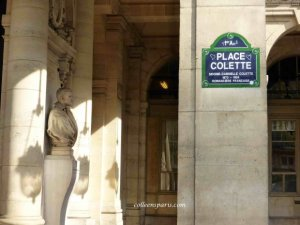 Place Colette at the Comedie Francaise in the sunshine with Comedie Française statue and light shadows