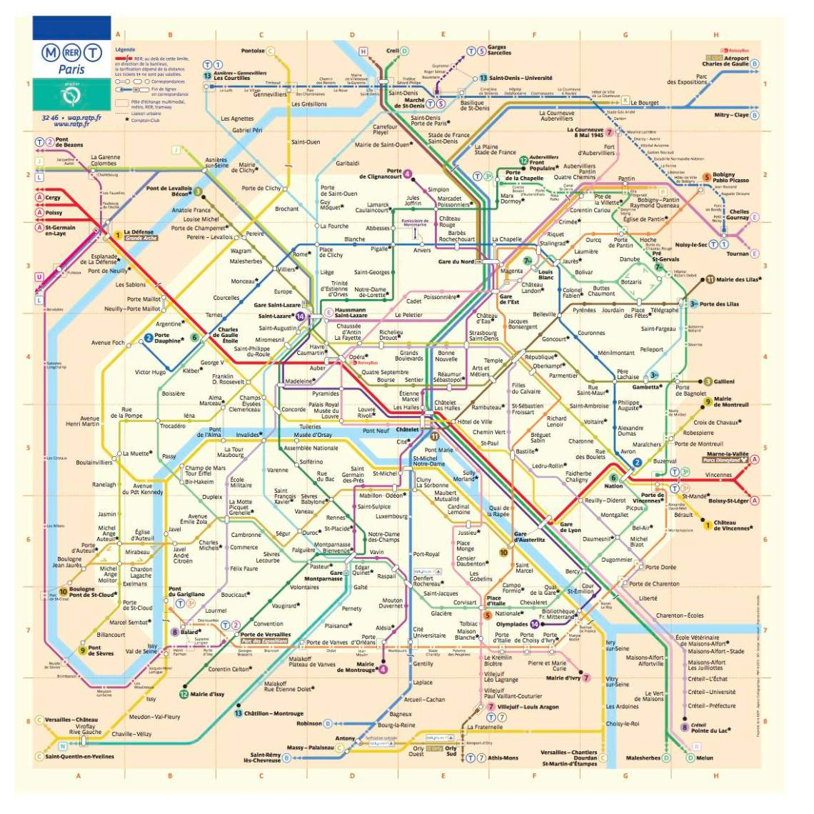 Paris metro map includes RER and Tramway from RATP site