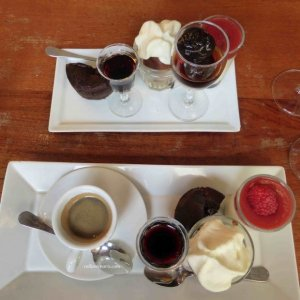 Café gourmand at Au Vieux Comptoir - Anne the owner substituted the prunes for a non-coffee drinker