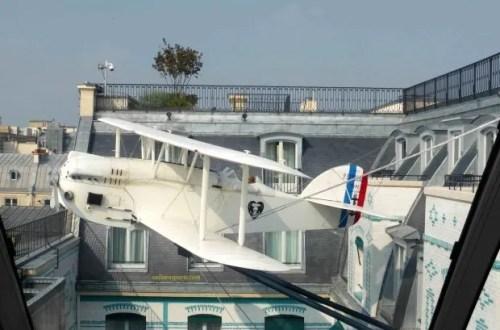 Peninsula Hotel, replica of plane, l'Oiseau Blanc