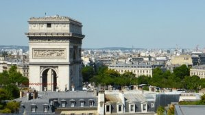 Raphael Hotel view of people on top of Arc de Triomphe and rooftops