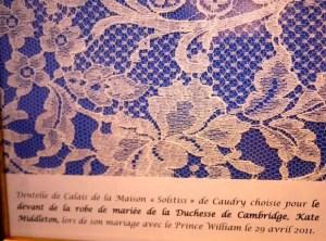 "Framed lace from Calais de la Maison ""Solstiss"" the wedding dress of Kate Middleton"