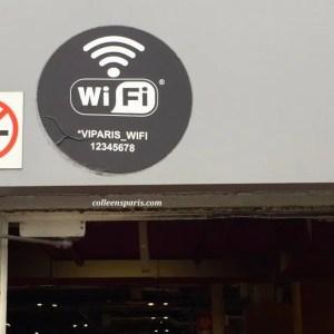 Signs posting Free WiFi connection is available above pavilion entrances throughout the Foire de Paris