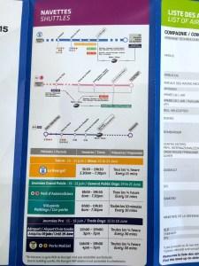 Brochure with transportation information for shuttles, bus, RER