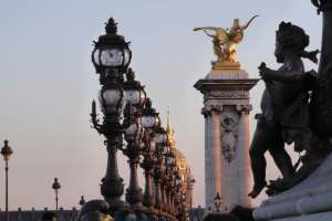 Pont Alexandre III at sunset; Invalides in the background during a Paris photo walk