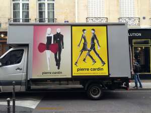 Truck outside Pierre Cardin shops and museum
