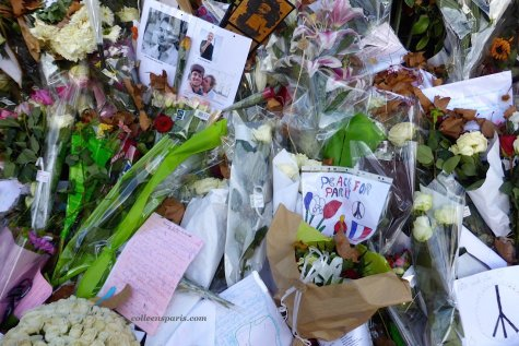 Bataclan memorial and flowers and photos