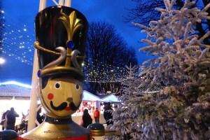 Toy soldier guarding Christmas market Champs Elysees Village de Noel