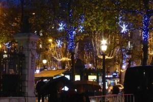 Holiday illuminations Champs Elysees, rainy Friday night November 20