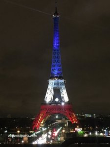 Eiffel Tower clad in red, white and blue until November 25. This is Friday night, November 20