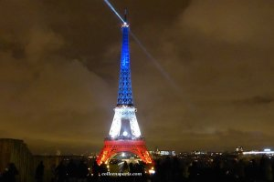 Friday, November 20, a week after the Paris attacks. The Eiffel Tower is specially lit in red, white and blue until November 25