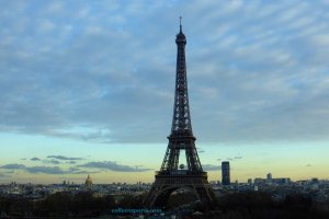 Eiffel Tower at sunset from a window in Musee de l'Homme