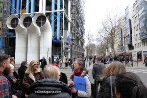 Rosemary Flannery with about 10 angel seekers across from Rambuteau metro station and the Centre Georges Pompidou, rue Beaubourg