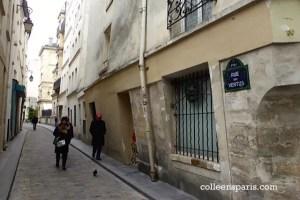 Rue des Vertus medieval street with slanted ground floor