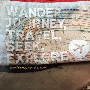accessory bag with words wander, journey, travel, seek, explore for Languages/Teenagers Abroad