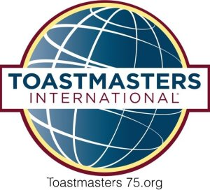 Logo for Toastmasters International with club name Toastmasters 75.org