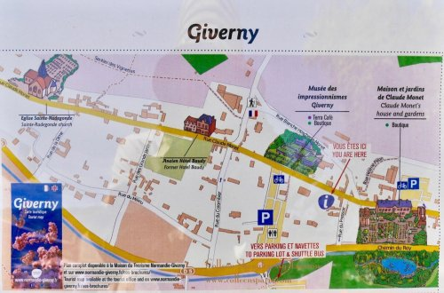 Giverny town map from Tourist office