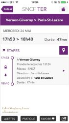 SNCF train return times