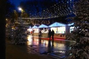 Chalets along Champs-Elysées for Christmas Market