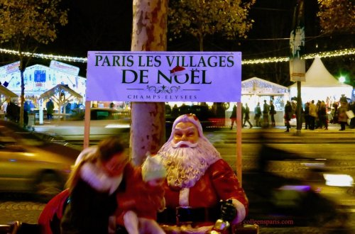 Chalets along Champs-Elysées for Christmas Market and Santa Claus Pere Noel