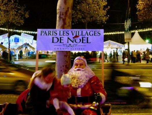 Chalets along Champs-Elysées for Christmas Market and Santa Claus Pere Noel