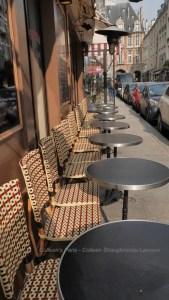 Bistro Chairs lined up along rue Birague near Places des Vosges, Brasserie du Pied de Fouet