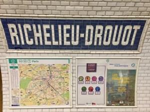 Metro Richelieu-Drouot, map, tiles, exhibition poster