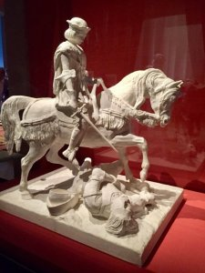 Sculpture Jeanne d'Arc crying at the sight of an injured Englishman
