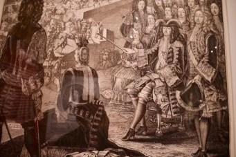 Details of illustration with Mme de Maintenon and Louis XIV at the Compiègne encampment