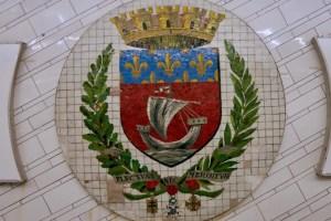Image Paris Coat of Arms motto: Fluctuat new mergitur (tossed by the waves, but never sinks); Metro Line 1 Hotel de Ville