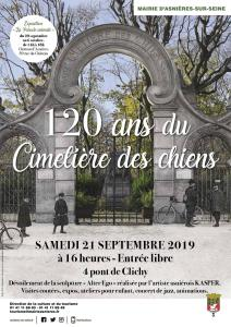 poster for the Cimetière des chiens celebrating 120 year anniversary