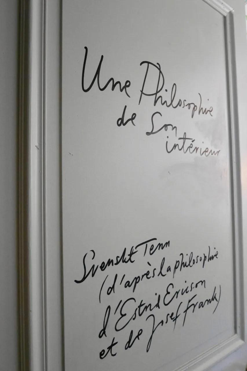 "Door leading to Svenskt Tenn/Josef Frank room; philosophy of Estrid Ericsson ""A philosophy and its interior""#l'Institute Suédois"