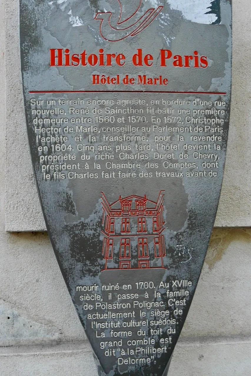 Historical marker Hotel de Marle Institute Suédois