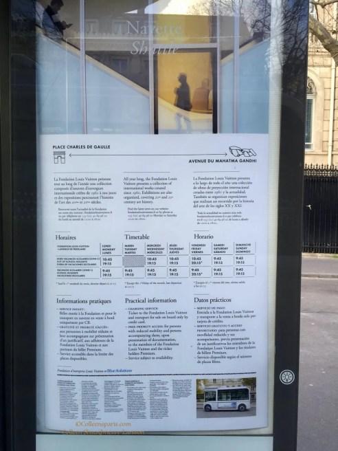 Schedule for navette/shuttle Fondation Louis Vuitton
