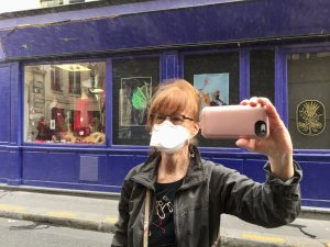image of Colleen of Colleen's Paris wearing face mask