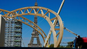 Temporary Grand Palais with Eiffel Tower view