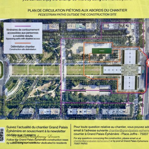 Overhead image of Temporary Grand Palais placement on Champ-de-Mars