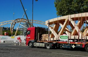 Image of modular wood sections for Temporary Grand Palais Ephémère