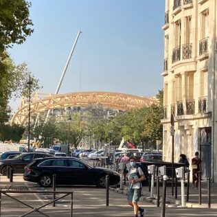 Image seen from Bus 86 of the Temporary Grand Palais over the treetops