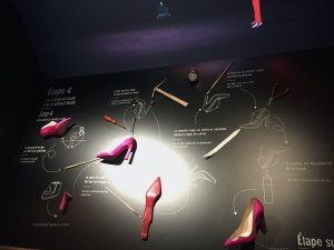 Sample board in the five steps to completion of a Louboutin