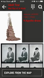 AudioGuide for Exhibit Man Ray et la Mode available in English on either Apple Store or Google Play