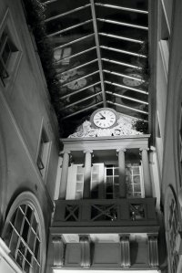 Passage Choiseul Clock B&W