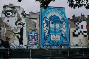 Street art murals near Stravinsky Fountain and the Georges Pompidou Center