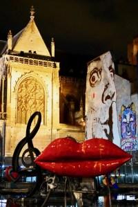 Image of Eglise Saint-Merry, Jeff Aerosol mural and Nikki de Saint Phalle's sculptures