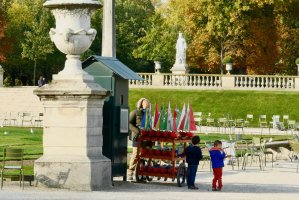 Luxembourg Garden Basin Boat for Rent with two boys