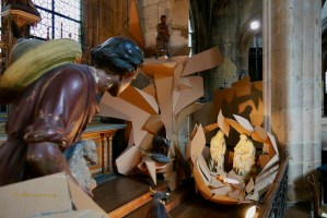 Angels and Nativity (Crèche) Cardboard Sculpture Paul Walker Hamy Eglise Saint-Merry.