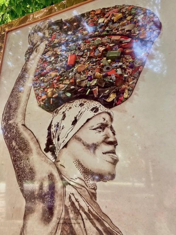 Woman carrying basket; photograph and collage Vik Muniz