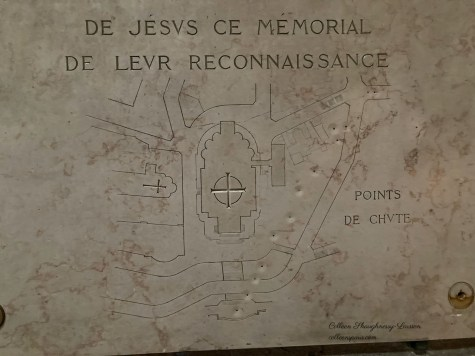 Tablet with bomb locations near Sacre Coeur World War II