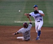 Nick Vilter turns a double play in Riverside's 8-5 win.