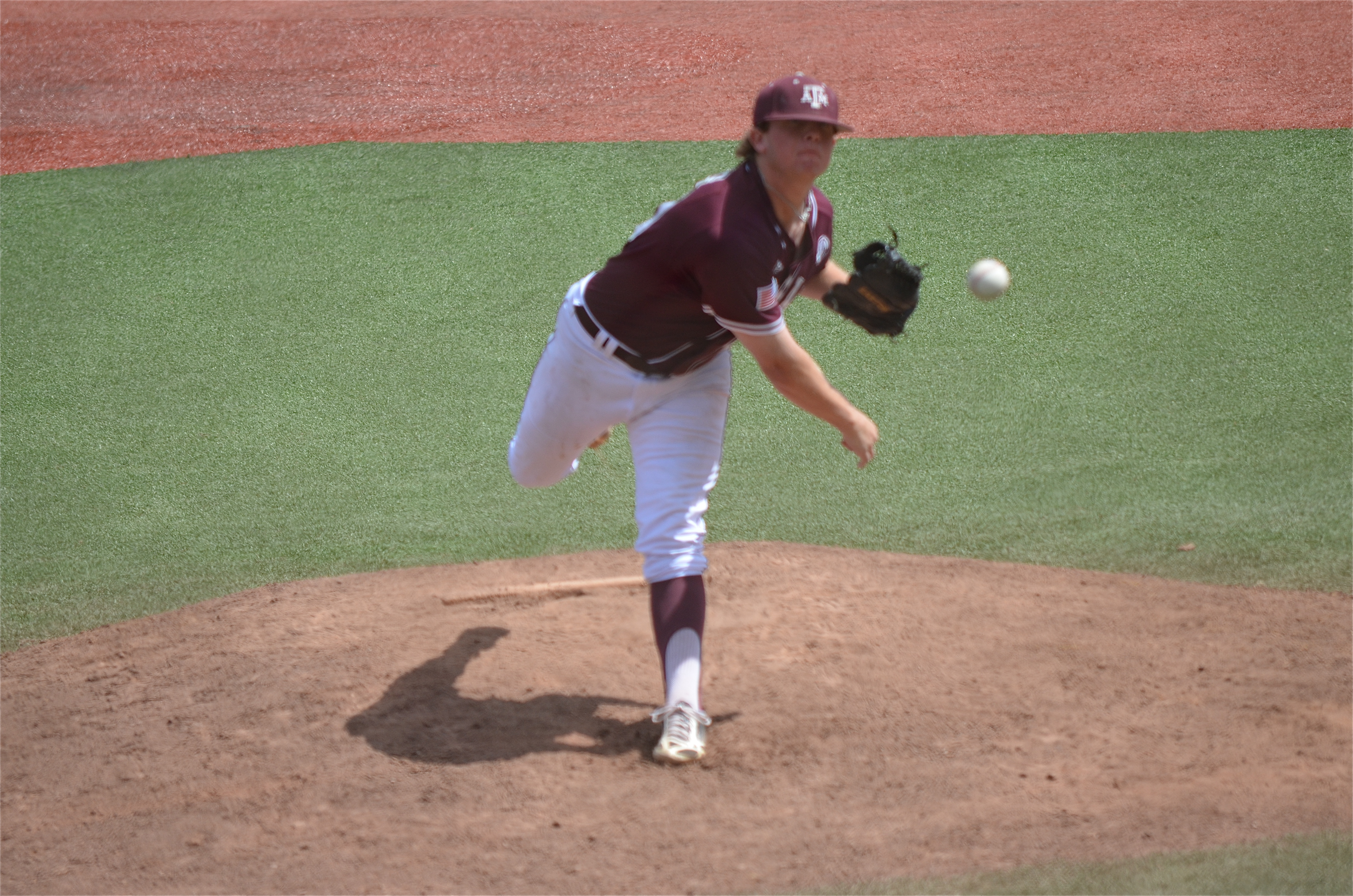 A&M reliever Jason Jester delivers to the plate in the ninth inning. He earned his 14th save with 2 1/3 innings of relief. (photo by Aaron Yost)